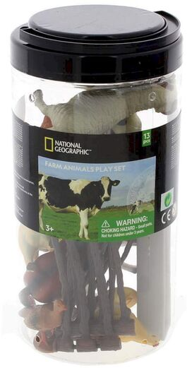 Figura animales National Geographic Cubo 13 Piezas Animales De Granja (8 Fig + 5 Acc) (st6)